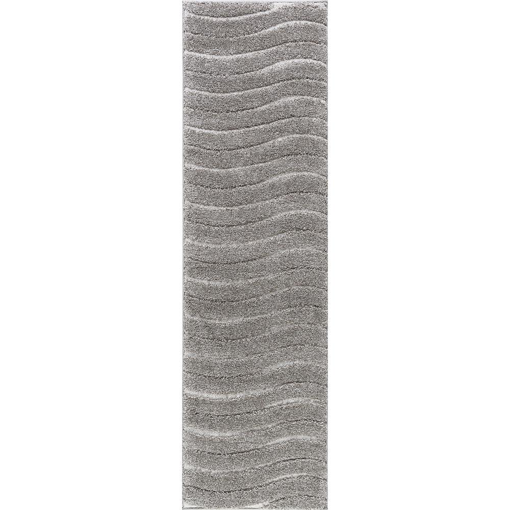 Tayse Rugs Berkshire Shag Gray 2 Ft X 12 Ft Runner Rug