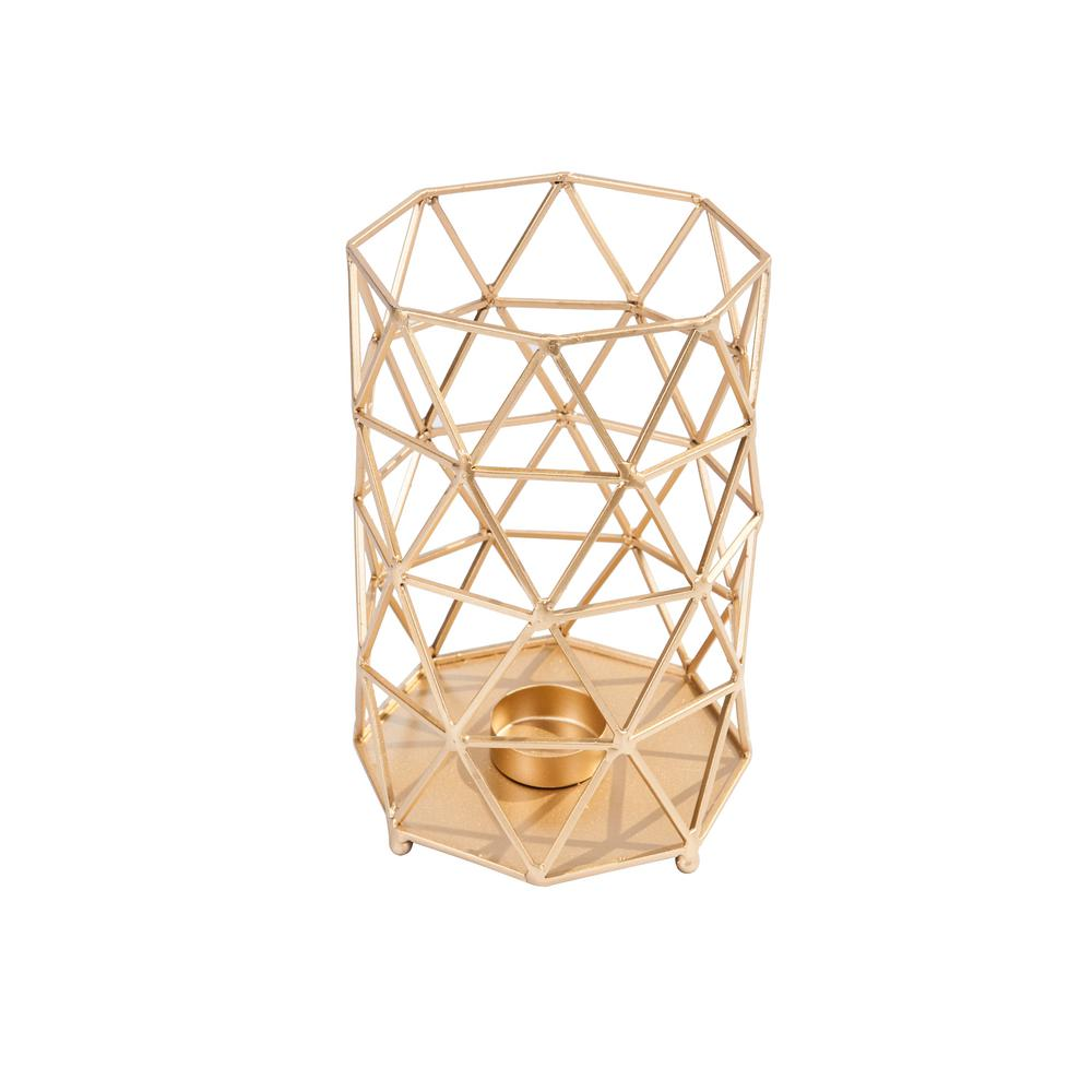 hamptonbay Hampton Bay 10.5 in. Brushed Gold Metal Outdoor Patio Lantern