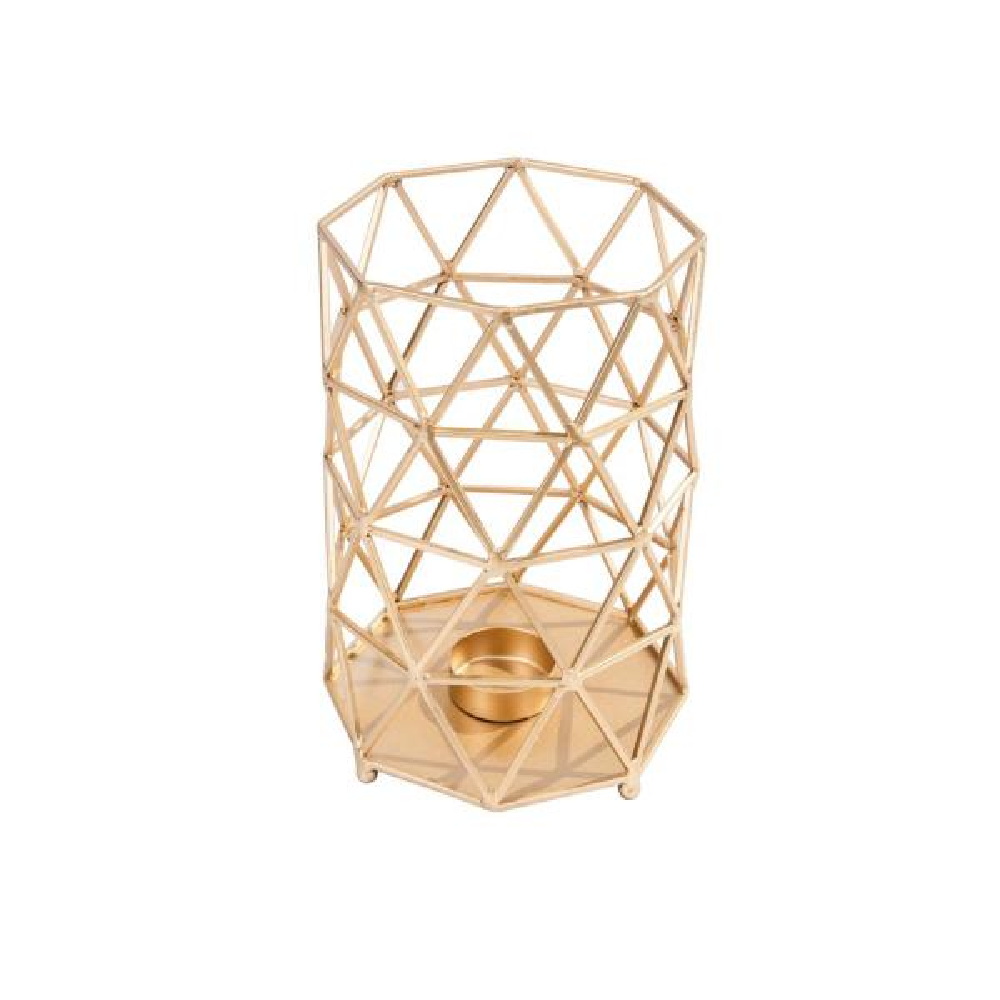 10.5 in. Brushed Gold Metal Outdoor Patio Lantern