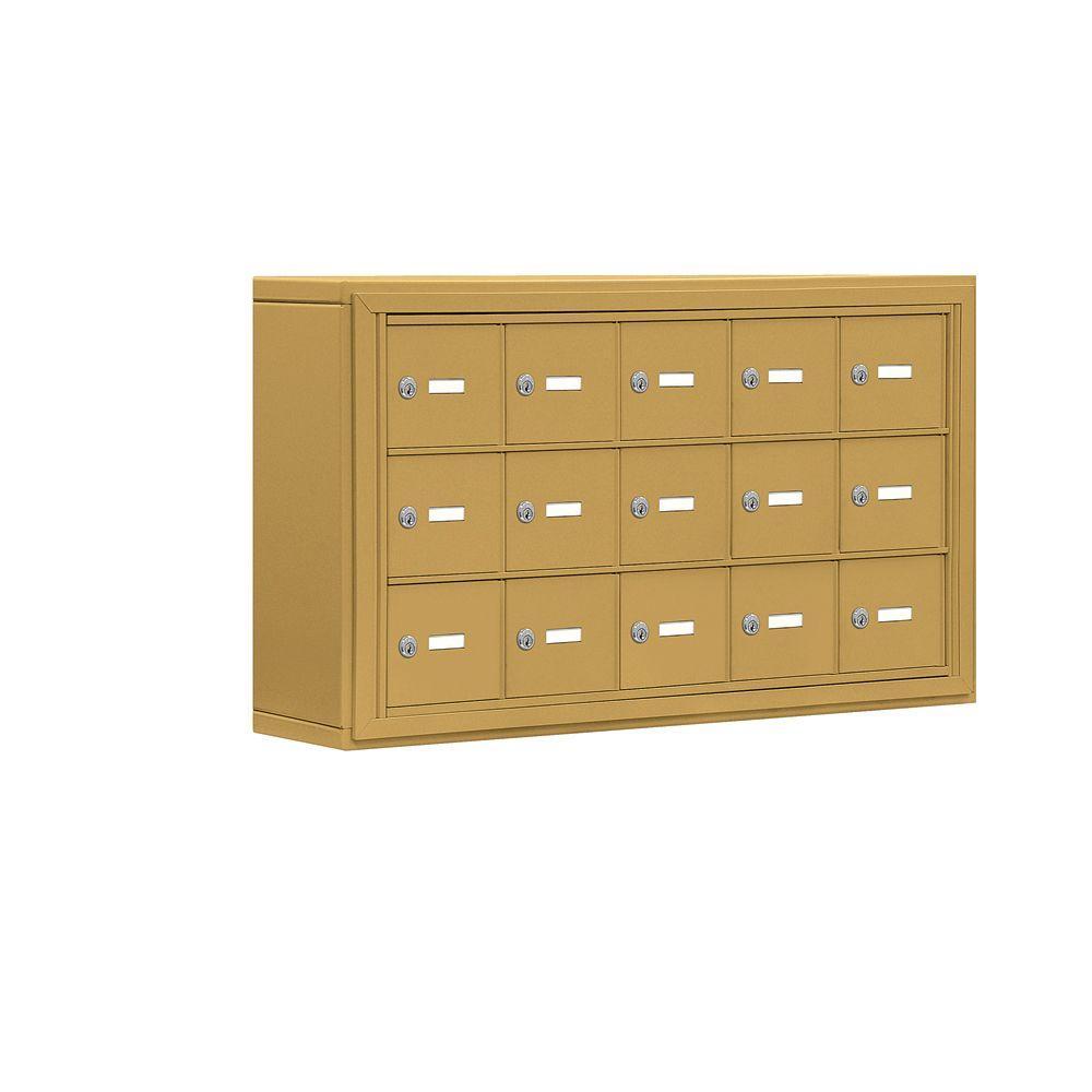 19000 Series 37 in. W x 20 in. H x 6.25 in. D Aluminum 15 A Doors S-Mount Keyed Locks Cell Phone Locker in Gold