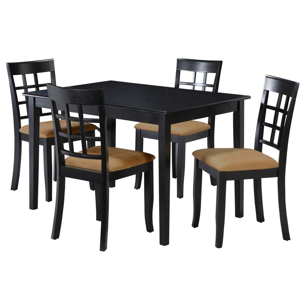 5pc Set Round Dinette Kitchen Table W 4 Microfiber: HomeSullivan 5-Piece Black Dining Set-40122D100W[5PC]122C