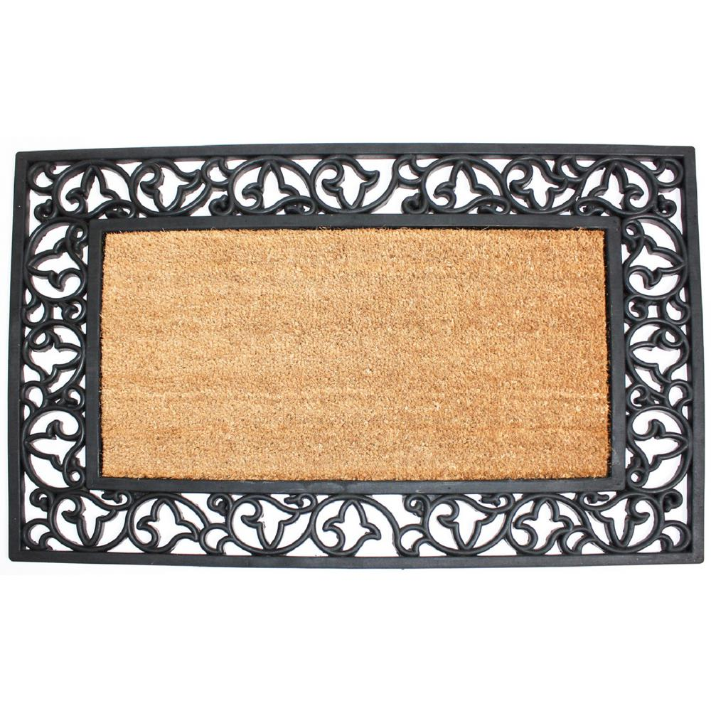 24 In X 40 In Coir And Rubber Scroll Plain Door Mat