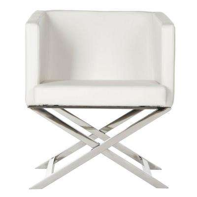Celine White Bonded Leather Arm Chair