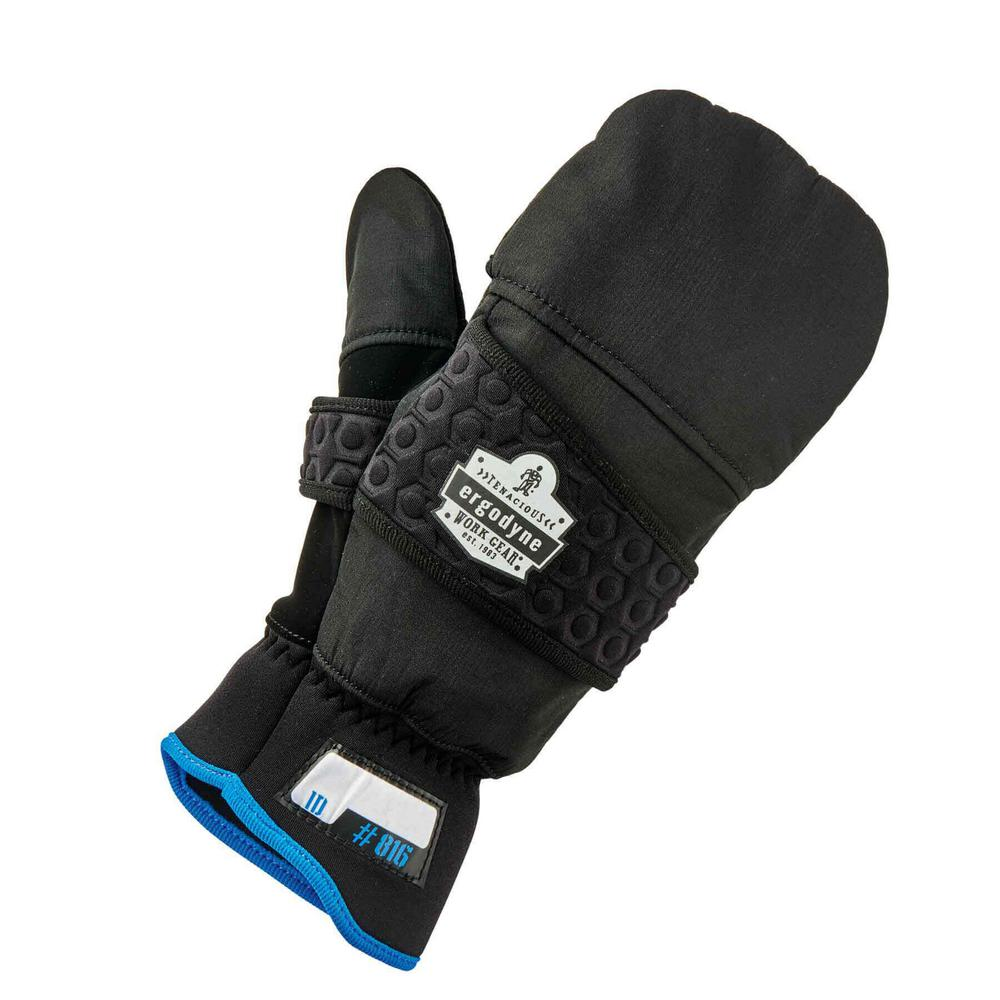 Ergodyne Ergodyne Large Black Thermal Flip-Top Gloves, Adult Unisex