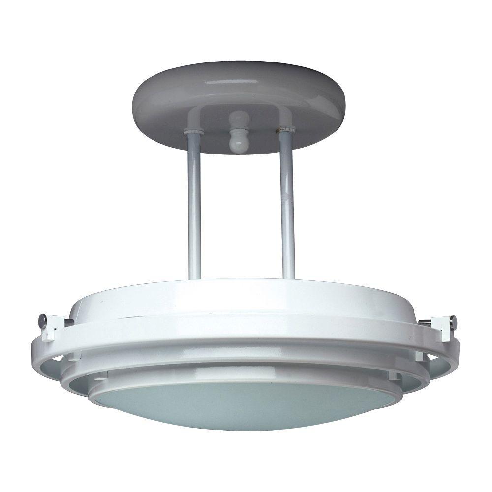 1-Light Black Ceiling Semi-Flush Mount Light with Acid Frost Glass