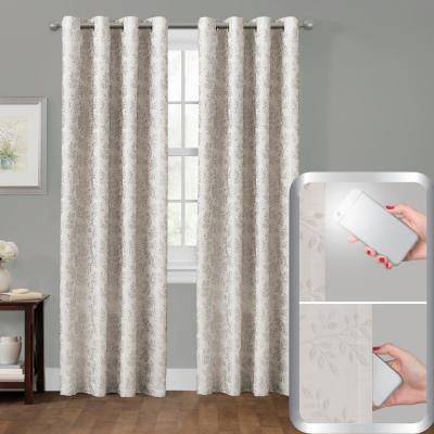 Blackout Everly Embroidered 50 in. x 84 in. Smart Curtain Window Curtain Panel in Ivory