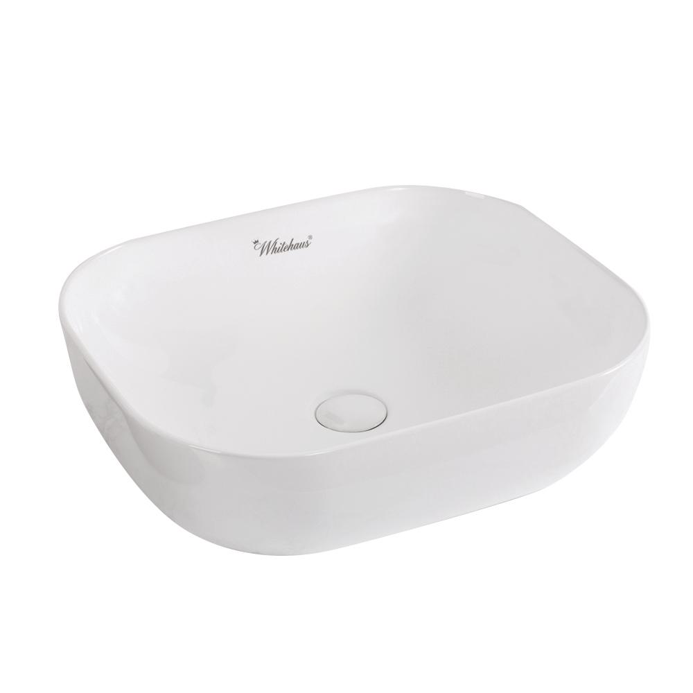 Whitehaus Collection Isabella Plus Collection Above Counter Rectangular  Vessel Sink In White