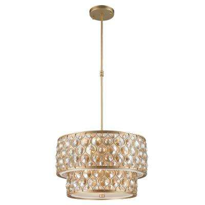Paris 12-Light Matte Gold with Clear and Golden Teak Crystal Pendant