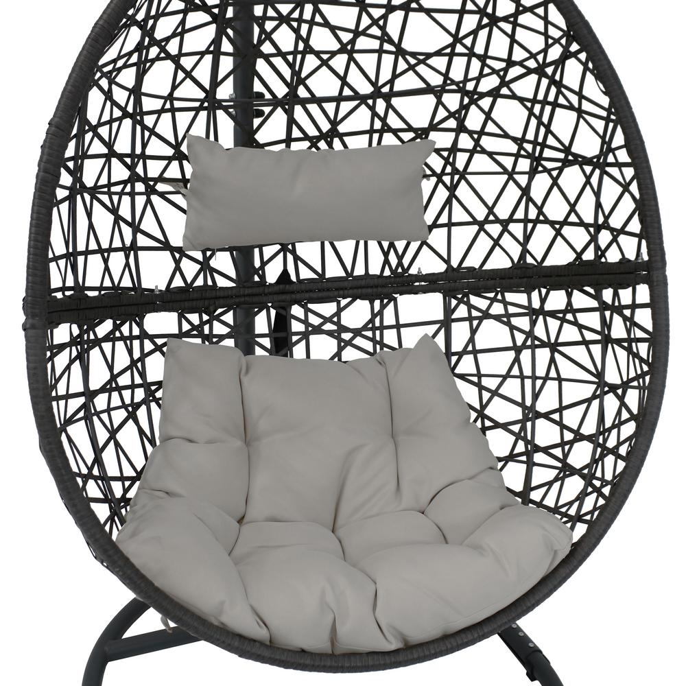 Super Sunnydaze Decor Caroline Resin Wicker Indoor Outdoor Hanging Egg Patio Lounge Chair With Stand And Gray Cushions Spiritservingveterans Wood Chair Design Ideas Spiritservingveteransorg