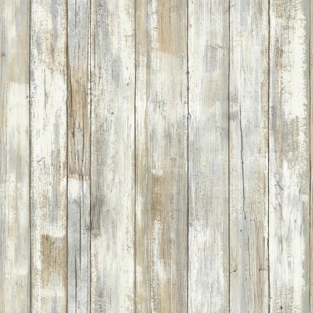 RoomMates 28.18 sq. ft. Distressed Wood Peel and Stick Wallpaper ...