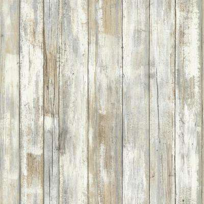 28.18 sq. ft. Distressed Wood Peel and Stick Wallpaper