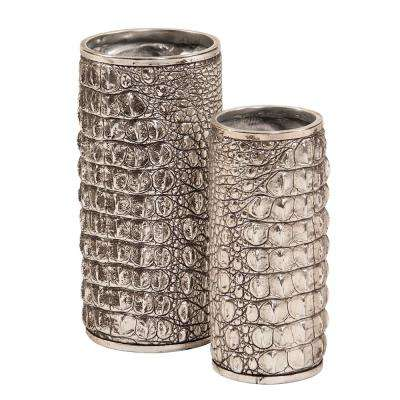 Silver Crocodile Texture Decorative Vase Set