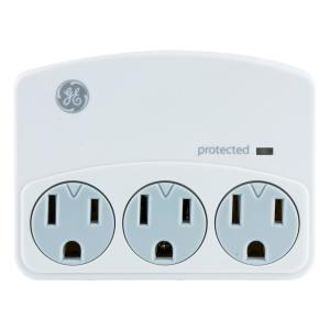 3-Outlet Surge Protector Wall Tap, White