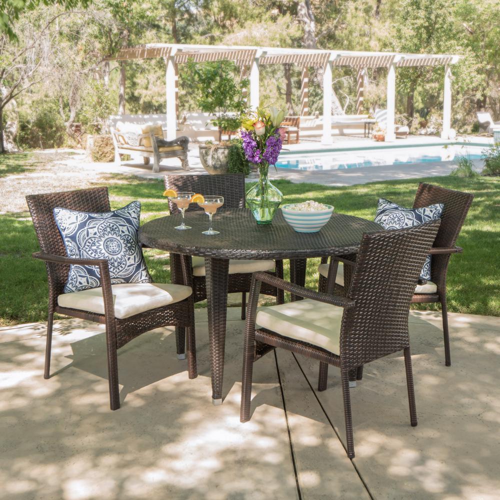 Kori Multi-Brown 5-Piece Wicker Circular Outdoor Dining Set with Crme Cushion