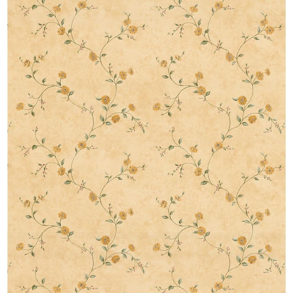 Kitchen Bath Bed Resource III Yellow Sunflower Trail Wallpaper Sample