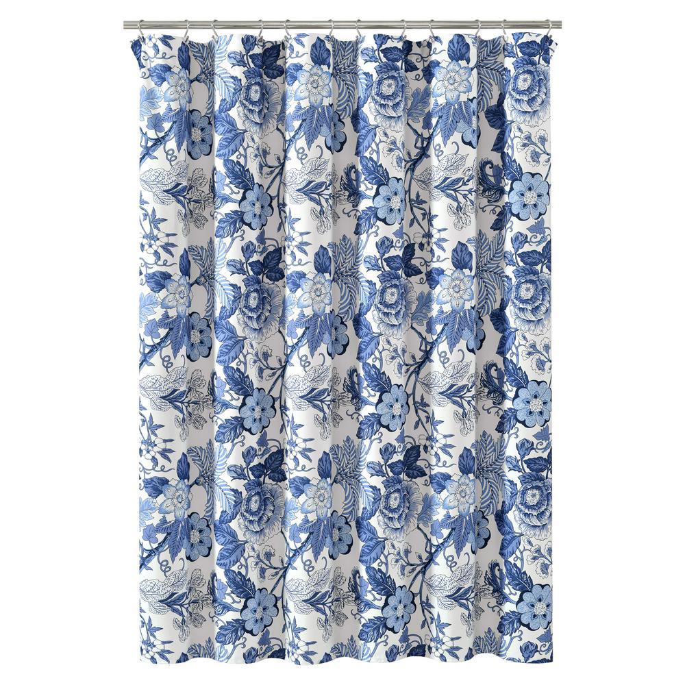 Sydney Shower Curtain Navy/White Single 72X72