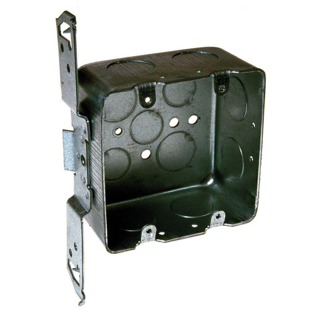 4-Inch 1//2-Inch Square Box 2-1//8-Inch Deep Hubbell-Raco 683 Two-Device Switch