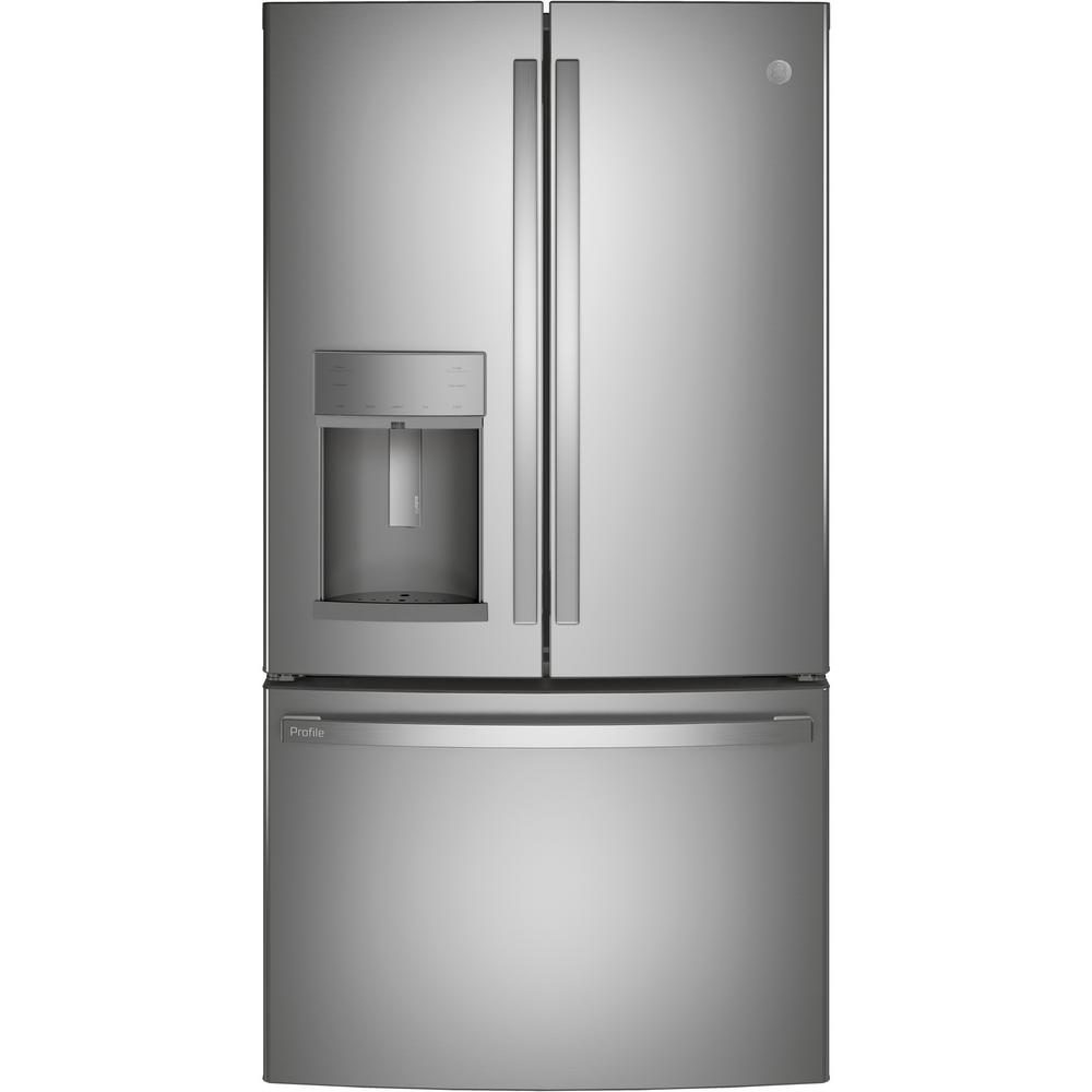 Ge Profile 22 1 Cu Ft French Door Refrigerator With Autofill In Fingerprint Resistant Stainless Steel Counter Depth Pye22kynfs The Home Depot