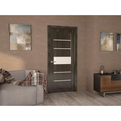 30 in. x 80 in. Siah Gray Oak Finished Frosted Glass 5-Lite Solid Core Wood Composite Interior Door Slab No Bore