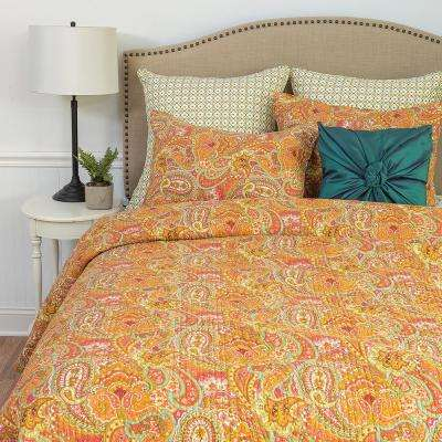 Orange Veda King Quilt Set