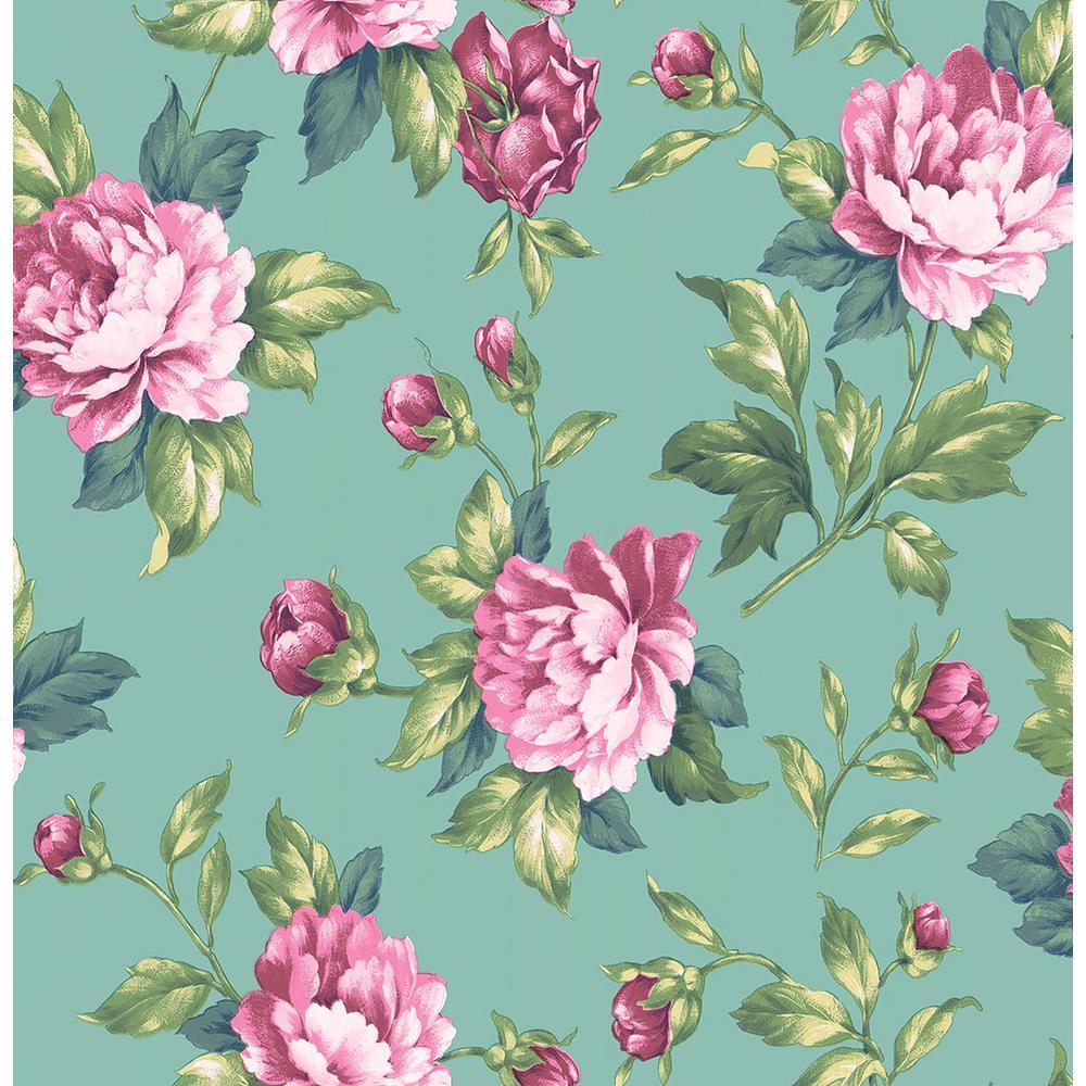 Brewster Catherine Green Floral Wallpaper Sample 2734-003505SAM