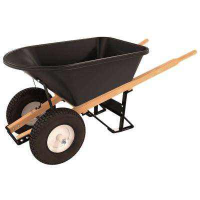 5-3/4 cu. ft. Poly Tray Wheelbarrow with 4-Ply Knobby Double Wheel Tires and Wood Handles