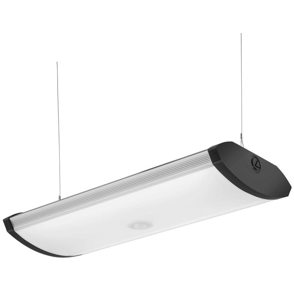 SGLL 2 ft. Black Indoor Integrated LED Garage Light with Integrated Motion Sensor Flushmount