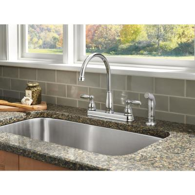 Foundations 2-Handle Standard Kitchen Faucet with Side Sprayer in Chrome
