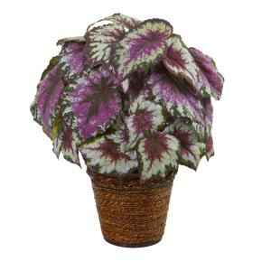 New 11in Tall Potted Pink Begonia Bush Artificial Silk Flowers Pot Plant