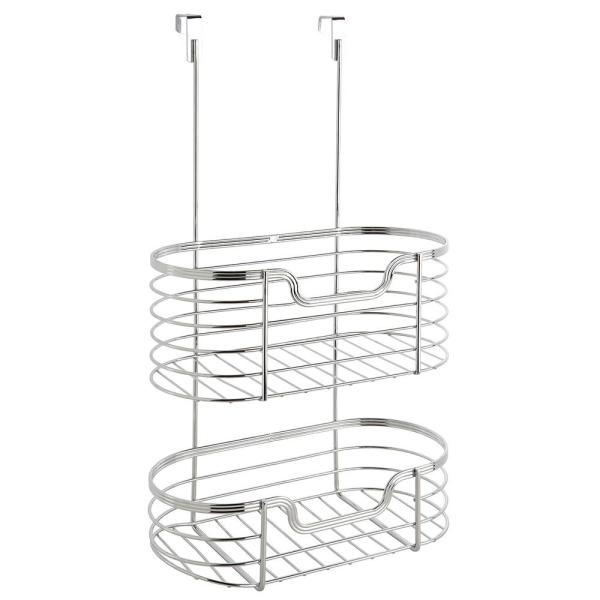 kitchen details chrome 2 tier over the cabinet organizer 24333 chr rh homedepot com over the cabinet organizer basket simplehouseware over the cabinet door organizer holder silver