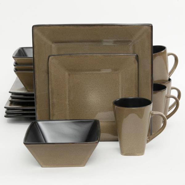 GIBSON elite Kiesling 16-Piece Taupe Reactive Glaze Square Dinnerware Set