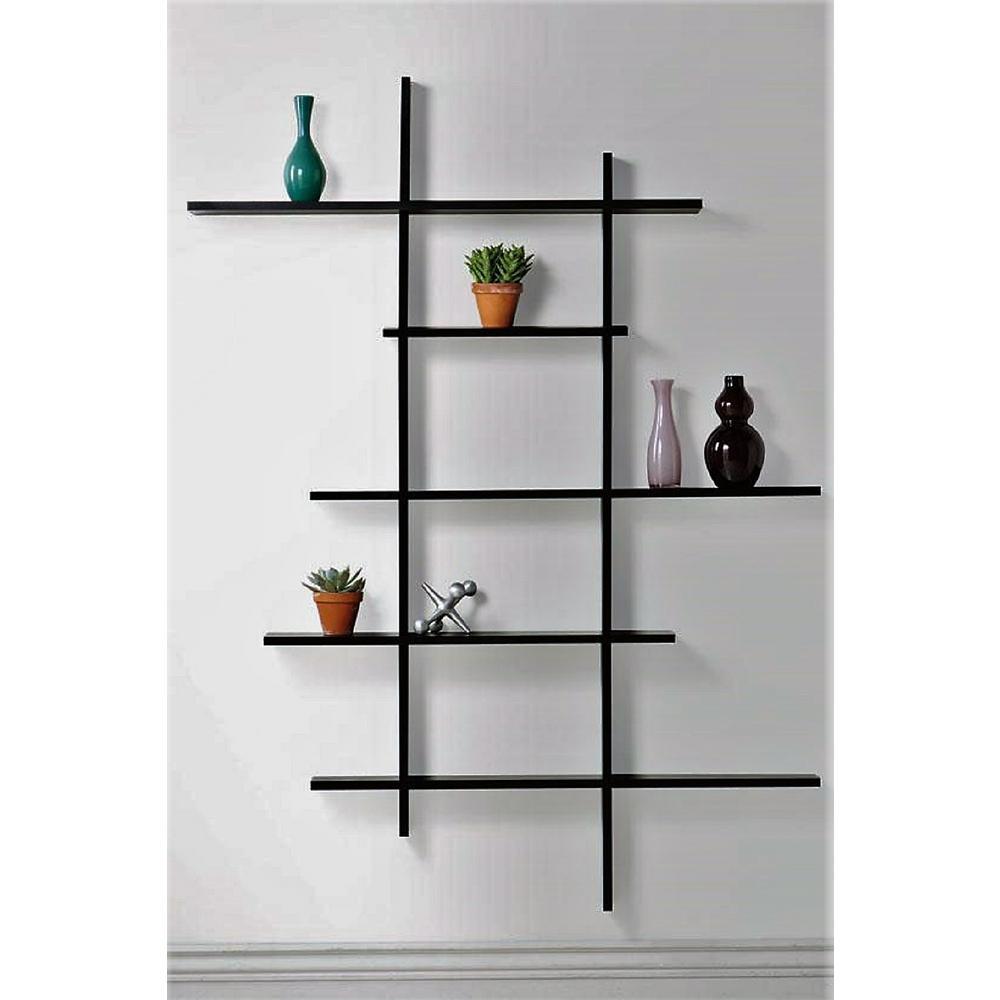 49.75 in. x 6 in. Black Deluxe 5-Shelf Tall Floating