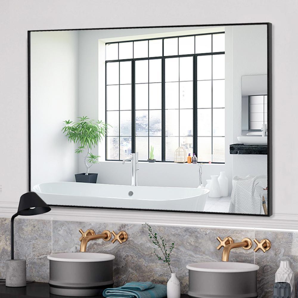 Neu Type Rectangle Modern Simple Bathroom Vanity Mirror Wall Mounted Hanging Mirror Black Gold Jj00379aafn 1 The Home Depot