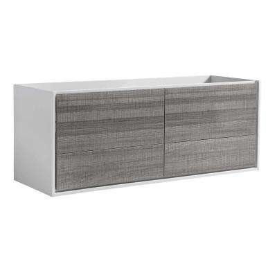 Catania 60 in. Modern Wall Hung Double Bath Vanity Cabinet Only in Glossy Ash Gray