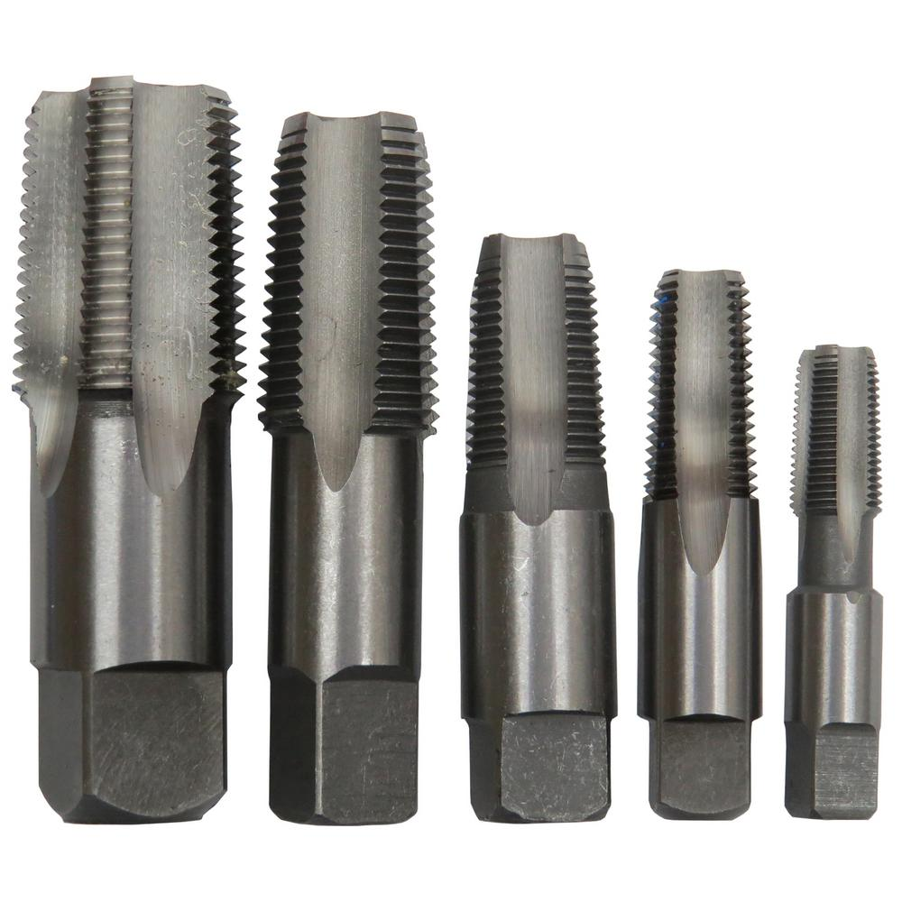 Drill America 5 Piece Carbon Steel NPT Pipe Tap Set, 1/8 in., 1/4 in., 3/8 in., 1/2 in. and 3/4 in.