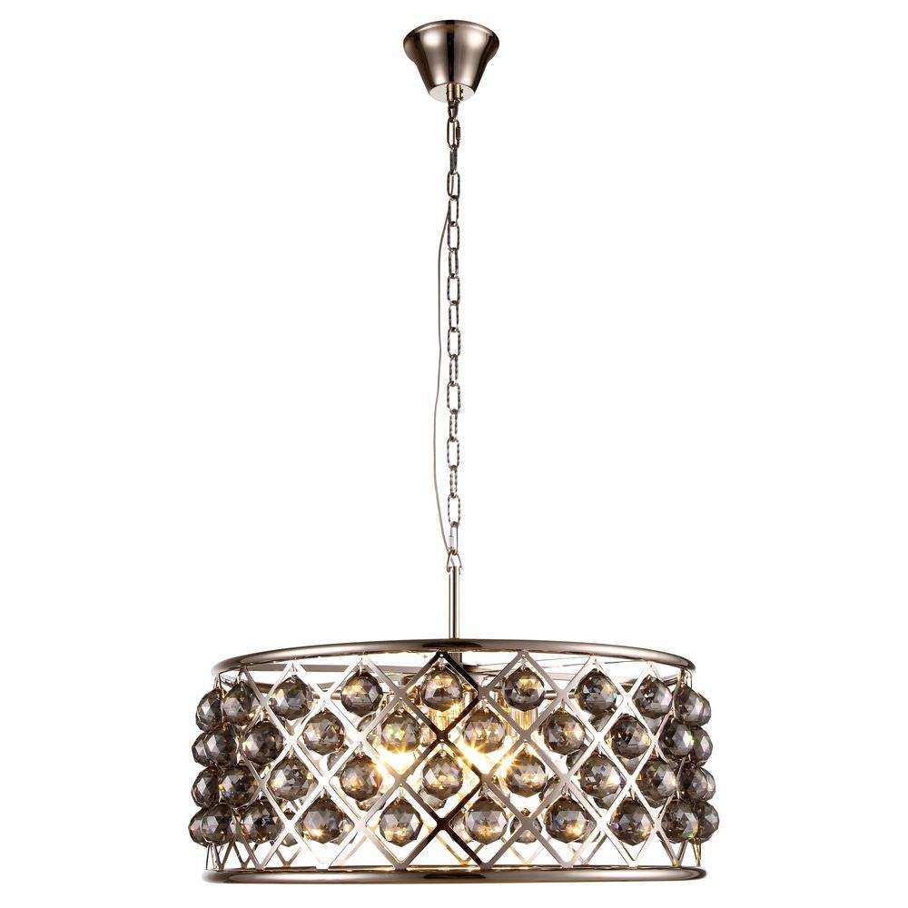madison 6light polished nickel royal cut silver shade grey pendant
