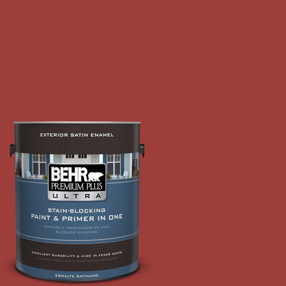 BEHR Premium Plus Ultra 1-Gal. #PPU2-16 Fire Cracker Satin Enamel Exterior Paint