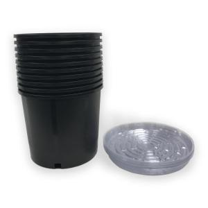 Heavy Duty Hydroponic 11 in. x 9.5 in. Black Black Plastic 3 Gallon Nursery Pots with Saucer (10-pack)
