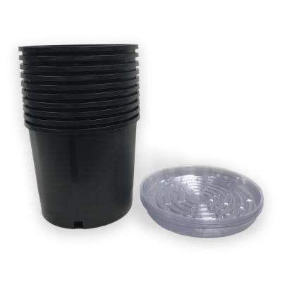 Heavy Duty Hydroponic 11 in. x 9.5 in. Black Plastic 3 Gallon Nursery Pots with Saucer (10-pack)