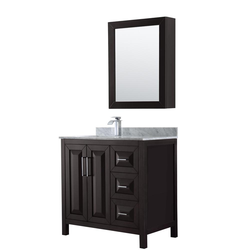 Wyndham Collection Daria 36 in. Single Bathroom Vanity in Dark ...