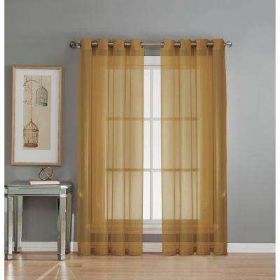 Sheer Sheer Elegance 84 in. L Grommet Curtain Panel Pair, Gold (Set of 2)