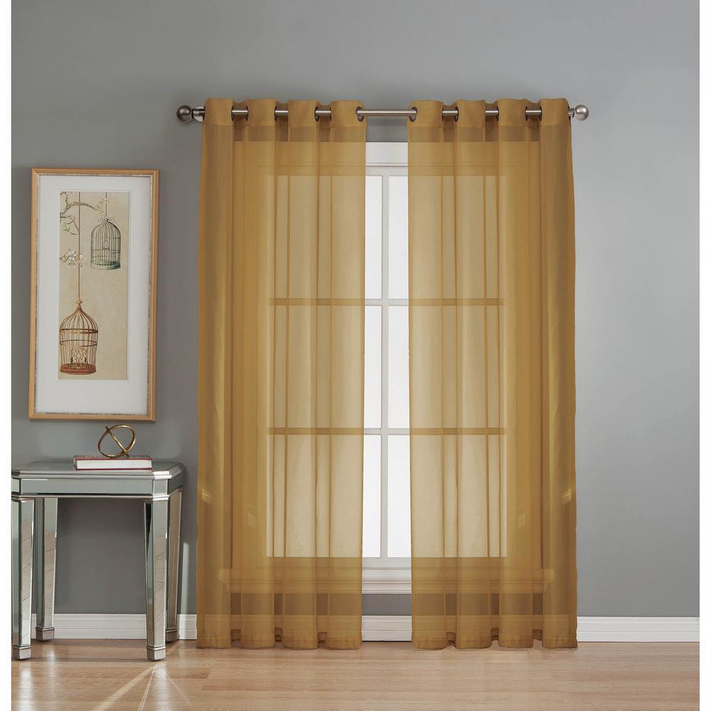 Sheer Sheer Elegance 84 in. L Grommet Curtain Panel Pair, Gold (Set of 2)