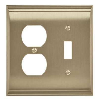 Candler 1 Toggle, 1 Receptacle Golden Champagne Wall Plate