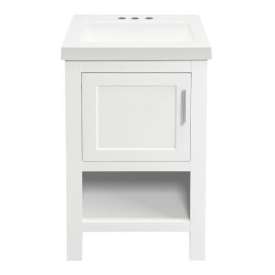 Spa 18-1/2 in Bath Vanity in White with Cultured Marble Vanity Top in White with White Sink