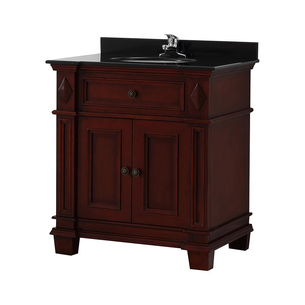 Home Decorators Collection Foxworth 31 in. W x 21 in. D Vanity in Dark Cherry with Granite Vanity Top in Black with White Sink