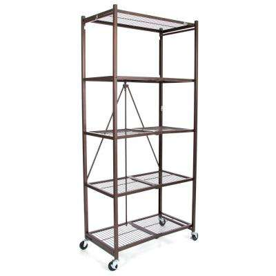 21 in. x 36 in. x 78 in. Large Wheeled 5-Shelf Folding Steel Wire Shelving Bronze
