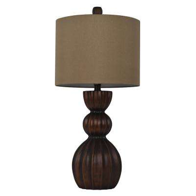 Sutton Gourd 28 in. Bronze Table Lamp with Faux Silk Shade