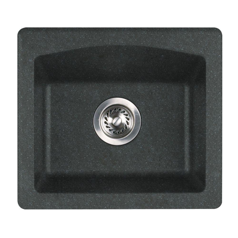 Delicieux Swan Drop In/Undermount Granite 18 In. 0 Hole Single Bowl Bar