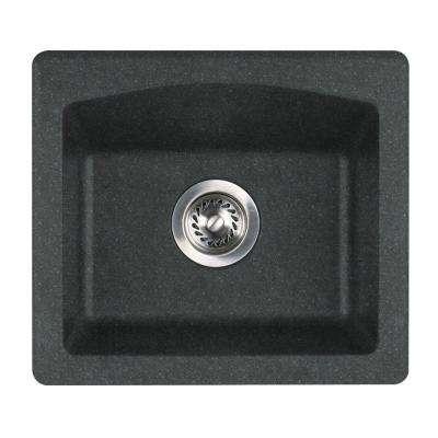 Drop-In/Undermount Granite 18 in. 0-Hole Single Bowl Bar Sink in Nero