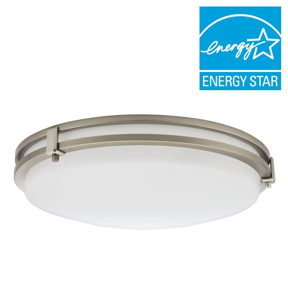 Lithonia Lighting Saturn 16-Watt Brushed Nickel Integrated LED Flushmount